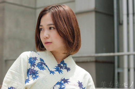 乙顏夏生 美女キモノ 紅葉と蜻蛉の浴衣