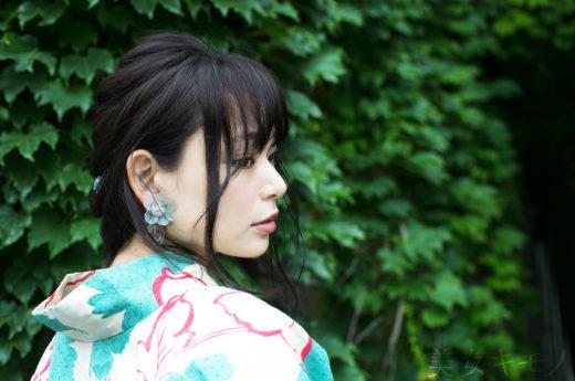 三村有希 美女キモノ クリームとグリーンの浴衣